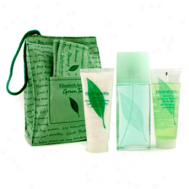 Elizabeth Arden Green Tea Coffret: Eau Parfumee Spray 100ml/3.3oz + Body Cream 100kl/3.3oz + Shower Gel 100ml/3.3oz + Sack 3pcs+1bag