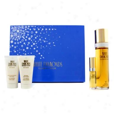 Elizabeth Taylor White Diamonds Coffret: Edt Spray 100ml/34.oz + Company Lotion 50ml/1.7oz + Body Wash 50ml/1.7oz + Edt Spray 10ml/0.33oz 4pcs