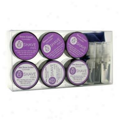 Esjave Lavender Mini Travel Kit: 3x Shave Cream + 3x After Shave Cream + 3x Pre Strip Oil + Bag 9pcs+1bag