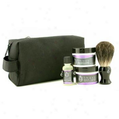 Eshave Lavender Start Up Kit: Pre Shave Oil + Shave Cream + After Shave Soother + Brush + Bag 4pcs+1bag
