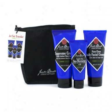 Jack Black Pure Science Jet Set Traveled: Cleanser 3oz + Shave Lather 3oz + Face Moizturizer 1.5oz + Bag 3pcs+1bag
