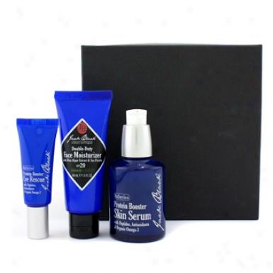 Jack Black Turn Back The Clock Set: Protein Booster Skin Serum + Protein Booster Eye Rescue + Face Moisturizer Spf20 3pcs