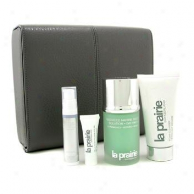 La Prairie Men's Connection Decline: Biology Solution 50ml/1.7oz + Foam Cleanser + Serum + Eye Gel + Box 4pcs+1box