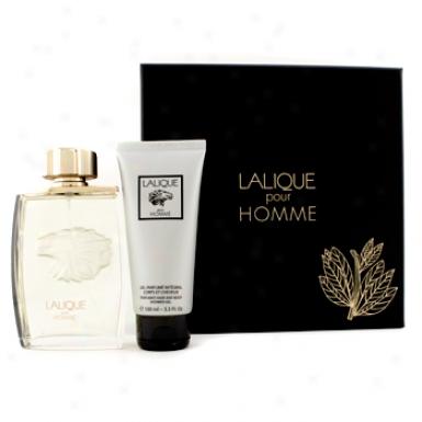 Lalique Lalique Pour Homme Coffret: Eau De Parfum Spray 125ml/4.2oz + Perfumed Hair & Consistency Shower Gel 100ml/3.3oz 2pcs
