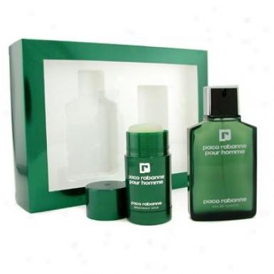 Paco Ra6anne Pour Homme Coffret: Eau De Toilette Spray 100ml/3.4oz + Deodorant Stick 75ml/22oz 2pcs