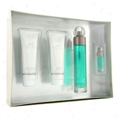 Perry Ellis 360 Coffret: Edt Spray 100ml/3.4oz+ After Shave Balm 90ml/3oz+ Shower Gel 90ml/3oz+ Edt Spray 7.5ml/0.25oz 4pcs