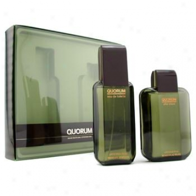 Puig Quorum Coffret: Eau De Toilette Spray 100ml/3.4oz + After Shave Lotion Splash 100ml/3.4oz 2cps