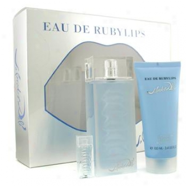 Salvador Dali Eau De Rubylips Coffret: Eau De Toilette Twig 100ml/3.4oz + Body Lotion 100ml/3.4oz + Small portrait 3pcs