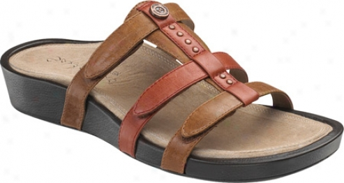 Aetrex Catalina Gladiator Adjustable (women's) - Rust Completely Grain Leather