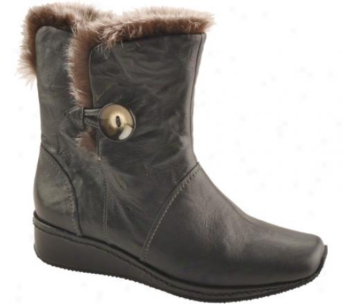 Antia ShoesG ina (women's) - Black Veg Crunch Leather/gross Grey Faux