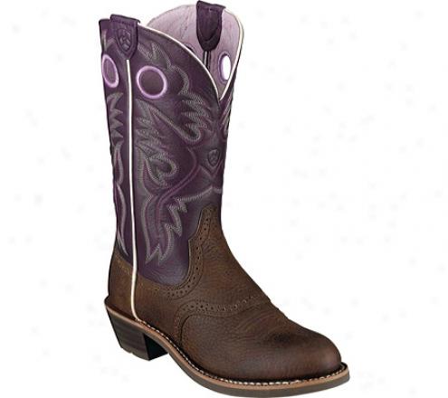 """ariat Heritage Roughstock 12"""" (women's) - Brown Oiled Rowdy/purple Deertan Leather"""