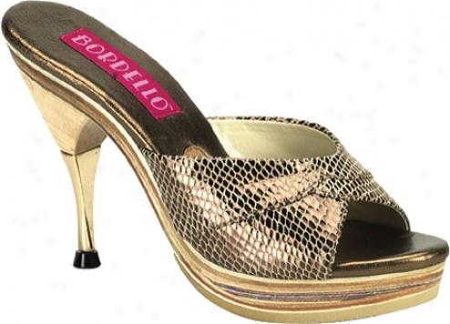 Bordello Genie 101sp (women's) - Gold Snake Print Leather
