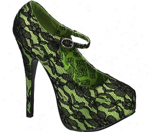 Bordello Teeze 07l (women's) - Lime Green Satin/black Lace