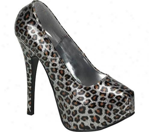 Bordello Teeze 37 (women's) - Silver Pearlized Cheetah Patent