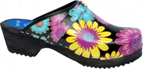 Cape Clogs Gerber Daisy - Black/multi