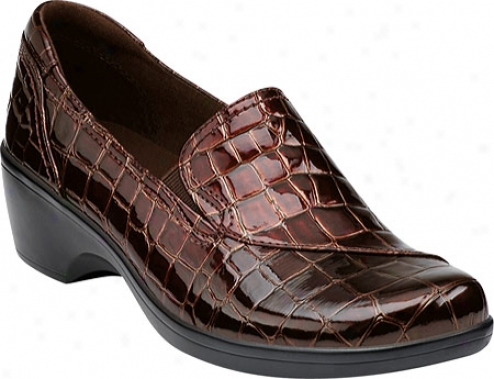 Cladks May Poppy (women's) - Brown Patent Croco
