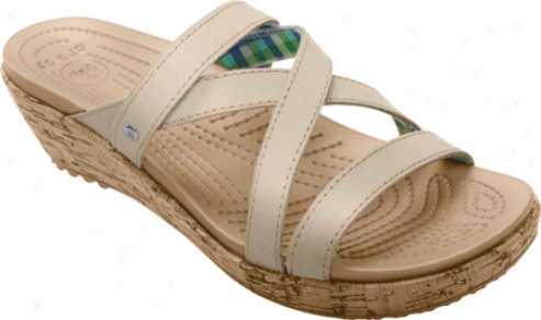 Crocs A-leigh Mini Wedge Leather (women's) - Stucco/stucco