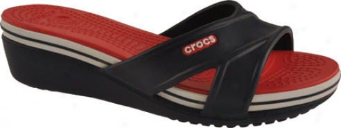Crocs Crocband Wedge (women's) - Navy/red