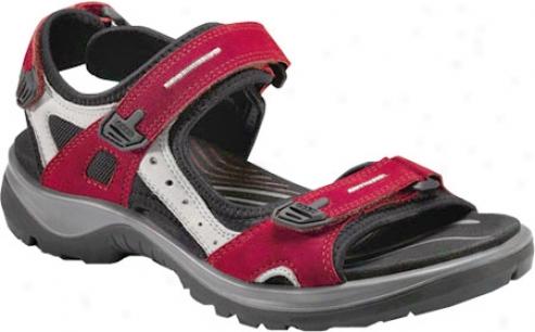 Ecco Yucatan Sandal 69563 (women's) - Chili Red Nubuck/concrete Nubuck/black Textile