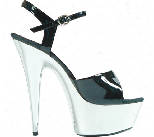 Ellie Chrome-609 (women's) - Black/silver Ch5ome Pu