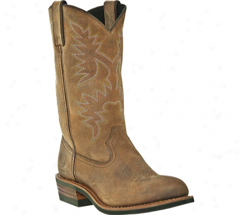 """john Deere Boots 11"""" Deep Dip Top Western 3704 (women's) - Brown Distressed Crazy Horse Full Grain Leather"""