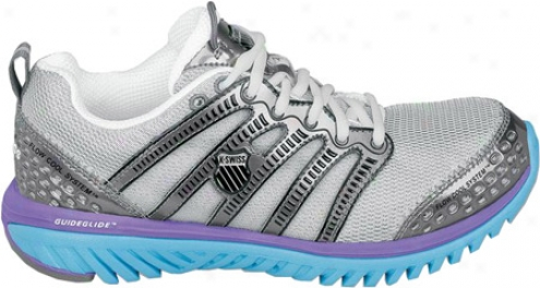 K-swiss Blade-light Fuse (women's) - Silver/charcoal/neon Violet/aquarius