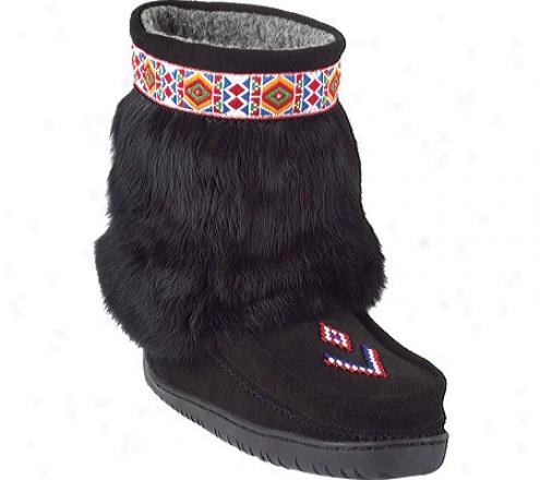 Manitobah Mukluks Half Trim Vibram Sole Mukluk (women's) - Black Cowhide Suede/rabbit Fur