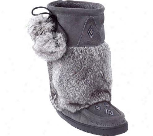 Manitobah Mukluks Mid Suede Mukluk (women's) - Charcoal Suede/rabbit Fur