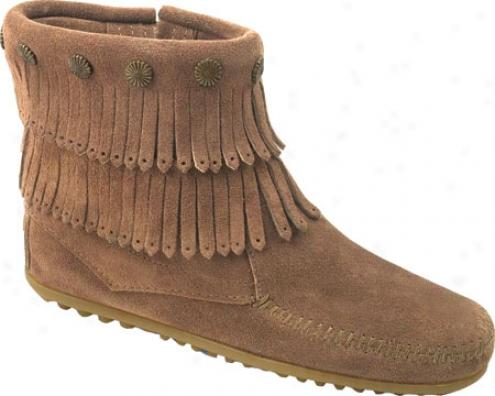 Minnetonka Double Fringe Side Zip Boot (women's) - Taupe Surde