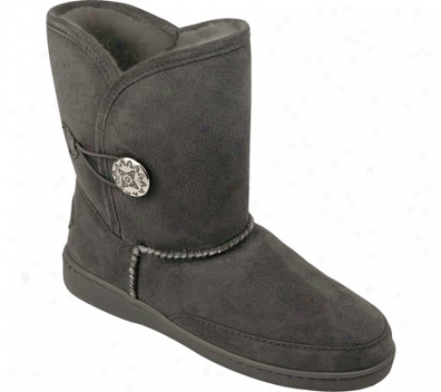 Minnetonka Side Button Classic Pug Boot (women's) - Grey Sheepskin