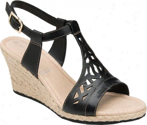 Rockport Emily Laser Cut T-strap (women's)) - Black Leather