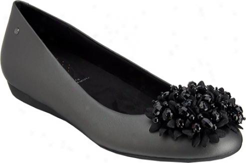 Rockport Faye Petals Ballet (women's) - Black Satin Metal Leather