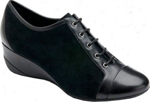 Rckport Trulinda Lace Up Wedge (women's) - Black Full Grain Leather/suede