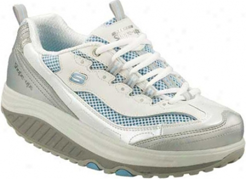 Skechers Shape Ups Jump Fit (women's) - White/silver/light Blue