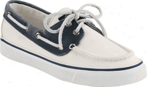 Sperry Top-sider Bahama 2-eye (women's) - White/navy Cotton Canvas