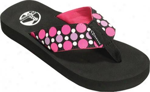 Tidewater Sandals Dots (women's) - Black/violet/pink