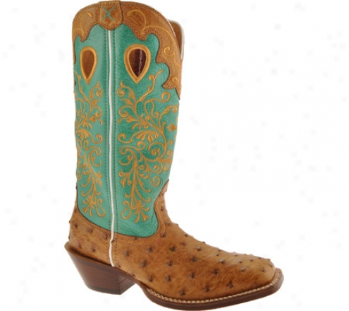 Twisted X Boots Wrsl002 (women's) - Saddle Full Quill Ostrich/aqua Leather