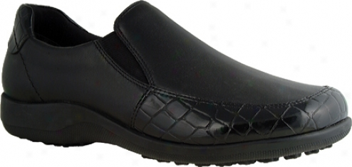 Walking Cradles Andie (women's) - Black Nappa Leather/croc Patent