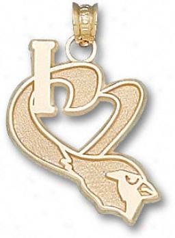 Arizona Cardinals 10k Gold ''i Heart'' Cardinal Head 3/4'' Pendant