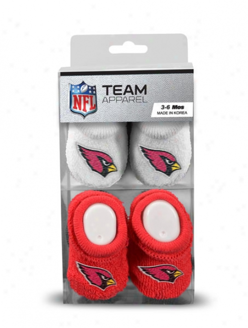 Arizona Cardinals Newborn 3 -6 Months Red And White Nfl Booties 2 Pack