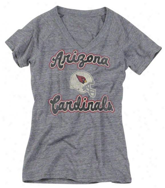 Arizona Cardinals Women's Reebok Heathered Grey Take Back Tri-blend V-neck T-shirt