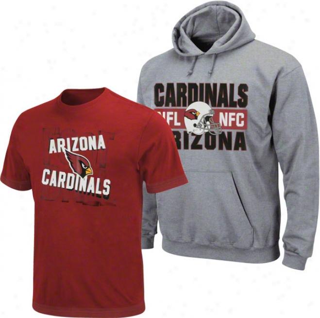 Arizona Cardinals Youth Grey/red Hood & Tee Combo Pack