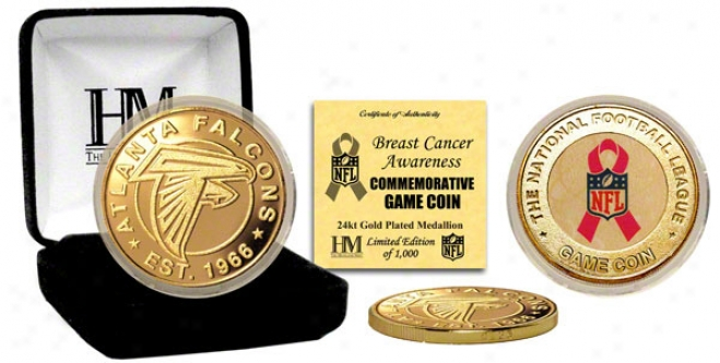 Atlanta Falcons Breast Cancer Aaareness 24kt Gold Game Prop
