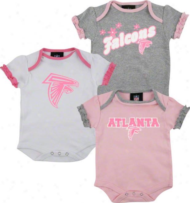 Atlanta Falcons Newborn 3-piece Pink Creeper Set