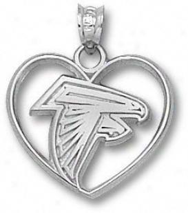 Atlannta Falcons Sterling Silver Falcon Logo Heart Pendant