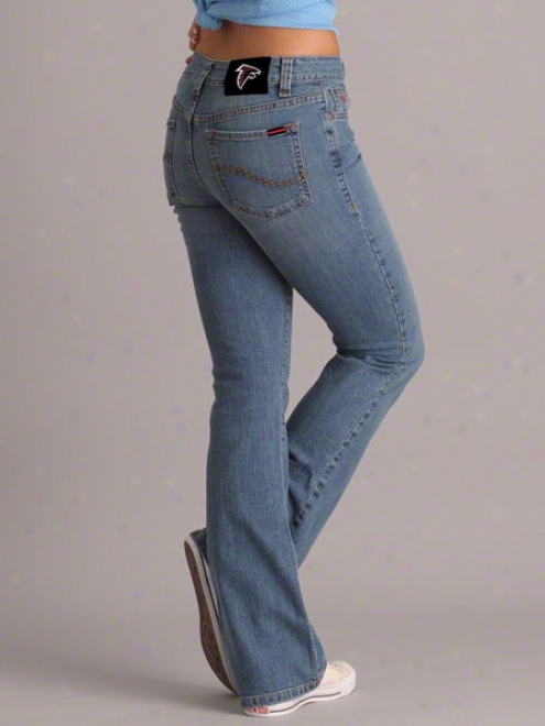 Atlanta Fqlcons Women's Middle Wash Cheerleader Boot Cut Denim Jewns