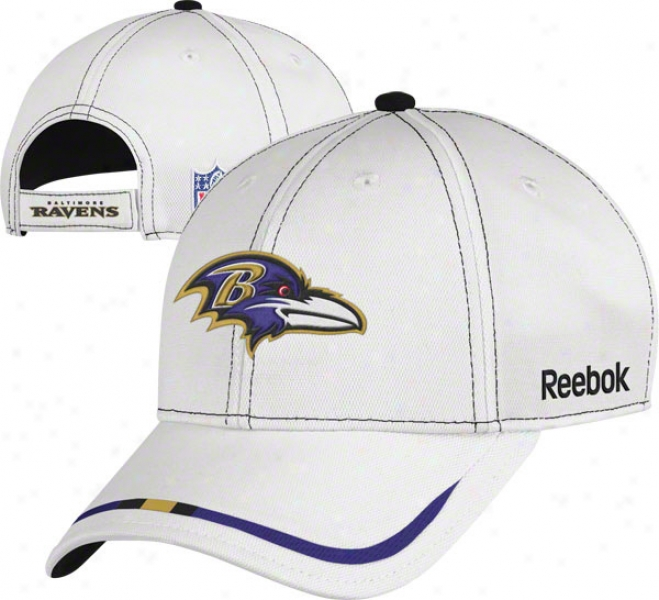 Baltimore Ravens Adustable Hat: 2011 Coaches Sideline White Pique Structured Hat