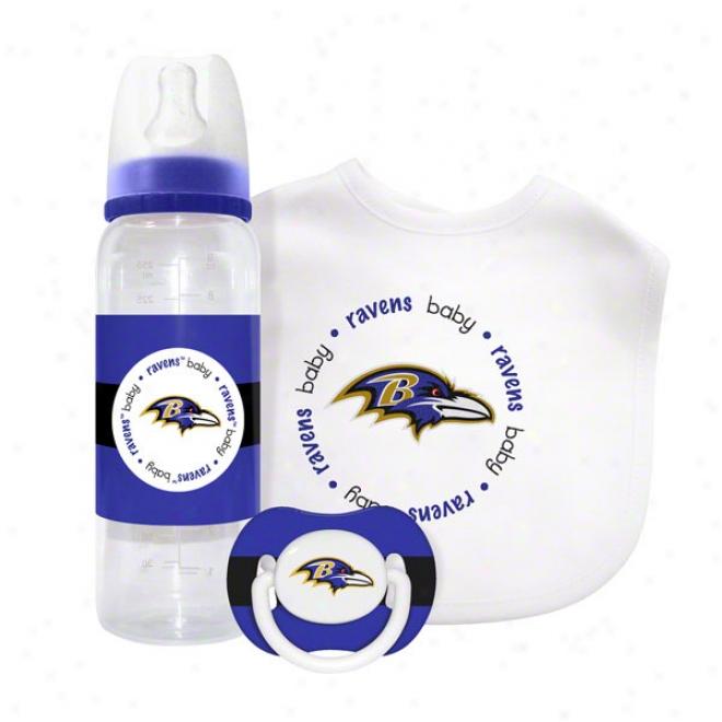 Baltimore Ravens Baby Gift Set: Kickoff Collection 3-piece Baby Feeding Set