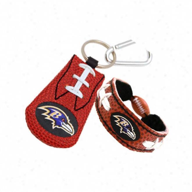 Baltimore Ravens Bracelet & Keychain Set