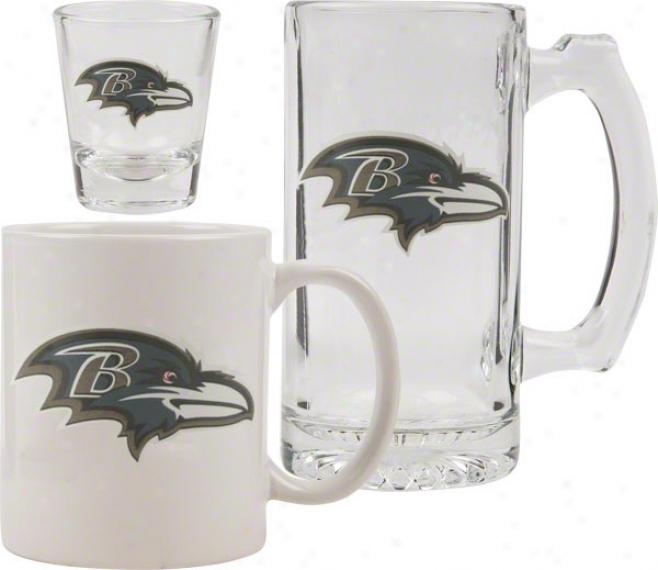 Baltimore Ravens Glassware Set: Logo Tankard, Coffee Mug, Shot Glass